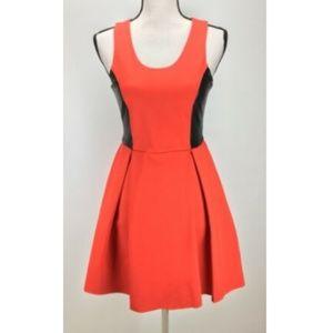 NWT Parker Dress Sz S Fit & Flare Leather Trim
